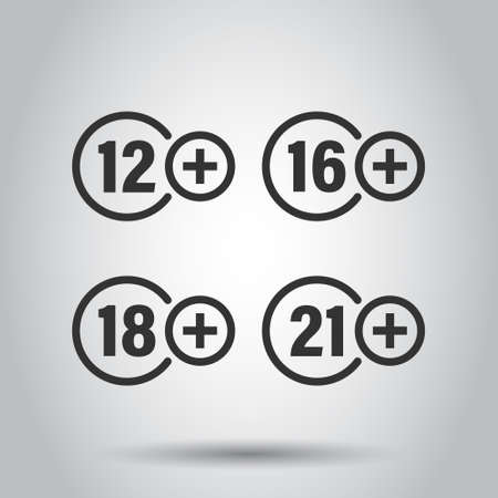 12, 16, 18, 21 plus icon in flat style. Censorship vector illustration on white isolated background. Censored business concept. Ilustração