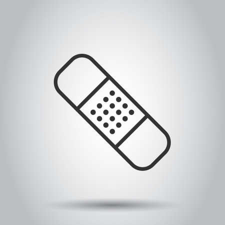 Bandage icon in flat style. Plaster vector illustration on white isolated background. First aid kit business concept. 向量圖像