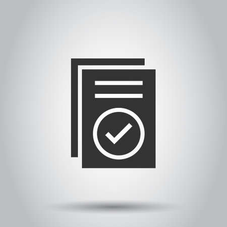 Approved document icon in flat style. Authorize vector illustration on white isolated background. Agreement check mark business concept.