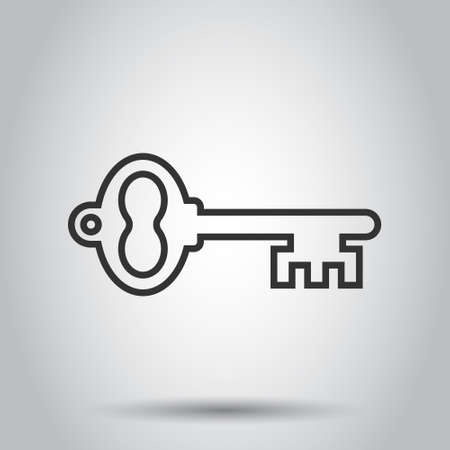 Key icon in flat style. Password vector illustration on white isolated background. Access business concept.