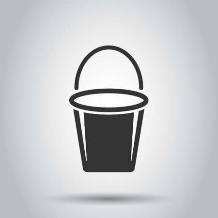 Bucket icon in flat style. Garbage pot vector illustration on white isolated background. Pail business concept.