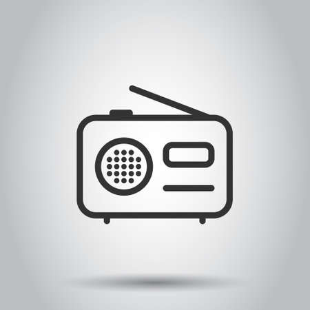 Radio icon in flat style. Fm broadcast vector illustration on white isolated background. Radiocast business concept.
