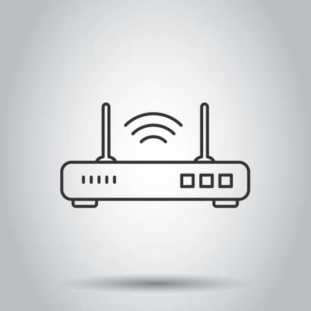 Wifi router icon in flat style. Broadband vector illustration on white isolated background. Internet connection business concept. Ilustração