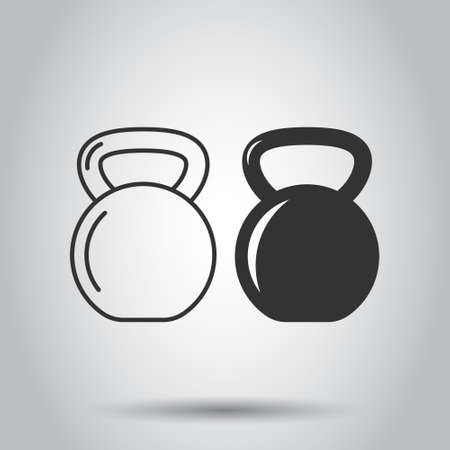 Kettlebell icon in flat style. Barbell sport equipment vector illustration on white isolated background. Dumbbell business concept.
