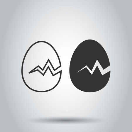 Egg icon in flat style. Breakfast vector illustration on white isolated background. Eggshell business concept.
