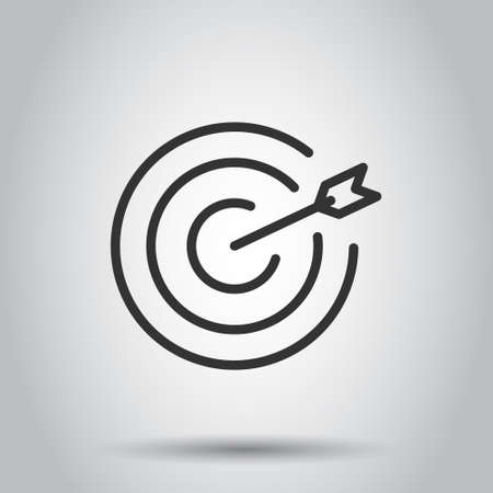 Target icon in flat style. Darts game vector illustration on white isolated background. Aim arrow business concept. 일러스트