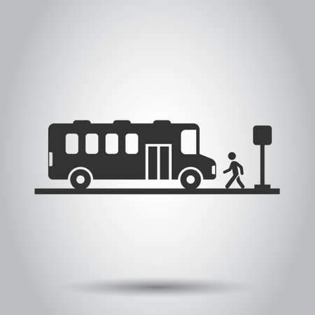 Bus station icon in flat style. Auto stop vector illustration on white isolated background. Autobus vehicle business concept.