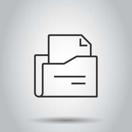 File folder icon in flat style. Documents archive vector illustration on isolated background. Storage business concept. Stock Illustratie