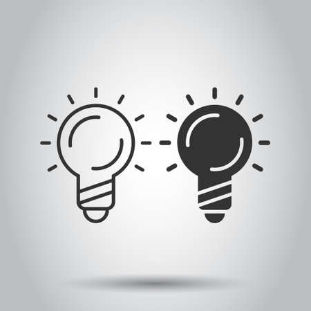 Light bulb icon in flat style. Lightbulb vector illustration on white isolated background. Lamp idea business concept.