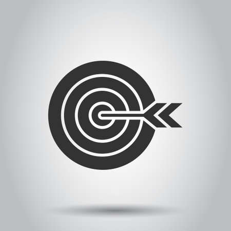 Target aim vector icon in flat style. Darts game illustration on white isolated background. Dartboard sport target concept.