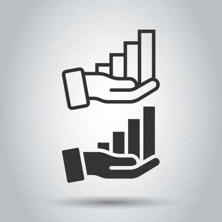 Growth revenue icon in flat style. Diagram with hand vector illustration on white isolated background. Finance increase business concept.