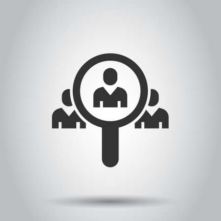 Search job vacancy icon in flat style. Loupe career vector illustration on white isolated background. Find people employer business concept. Çizim
