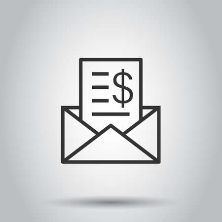Envelope with money icon in flat style. E-mail cash vector illustration on white isolated background. Finance message business concept.