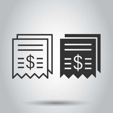 Money check icon in flat style. Checkbook vector illustration on white isolated background. Finance voucher business concept. Vector Illustration