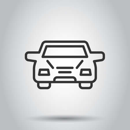 Car icon in flat style. Automobile vehicle vector illustration on white isolated background. Sedan business concept.