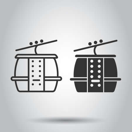 Cable car icon in flat style. Elevator cabin vector illustration on white isolated background. Cableway business concept.