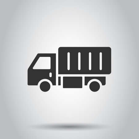 Delivery truck icon in flat style. Van vector illustration on white isolated background. Cargo car business concept.