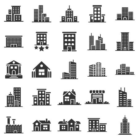 Building icon set in flat style. Town skyscraper apartment vector illustration on white isolated background. City tower business concept.