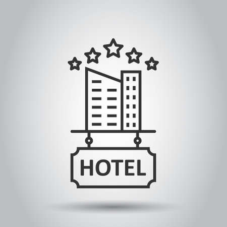 Hotel 5 stars sign icon in flat style. Inn building vector illustration on white isolated background. Hostel room business concept.