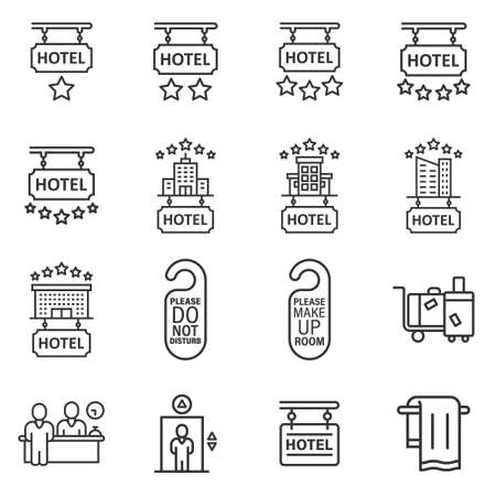 Hotel icon set in flat style. Booking vector illustration on white isolated background. Vacation reservation business concept.