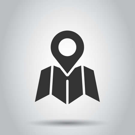 Map pin icon in flat style. gps navigation vector illustration on white isolated background. Locate position business concept. Vettoriali