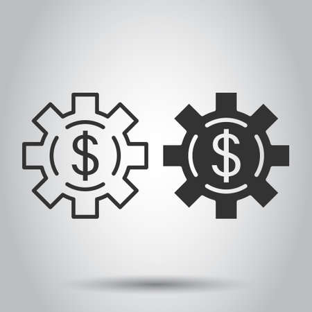 Money revenue icon in flat style. Dollar coin vector illustration on white isolated background. Finance structure business concept.