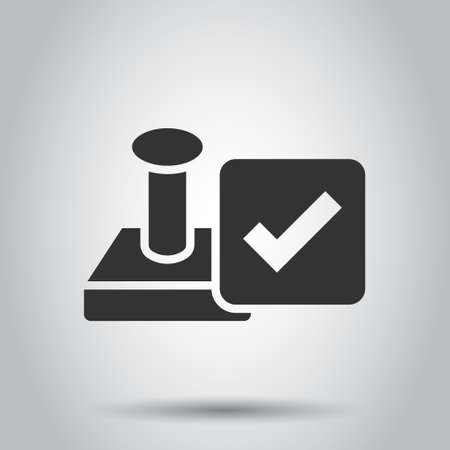 Approve stamp icon in flat style. Accept check mark vector illustration on white isolated background. Approval choice business concept.