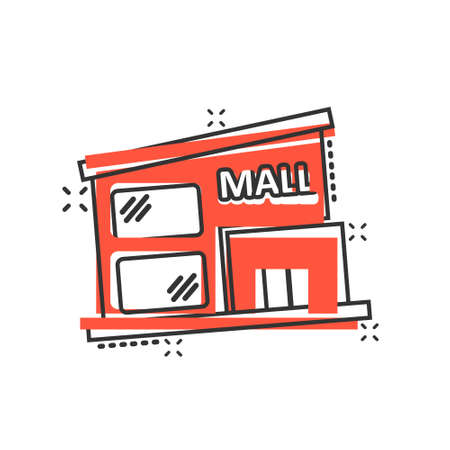 Mall icon in comic style. Store cartoon vector illustration on white isolated background. Shop splash effect business concept.