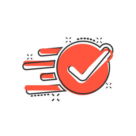 Check mark sign icon in comic style. Confirm button cartoon vector illustration on white isolated background. Accepted splash effect business concept.
