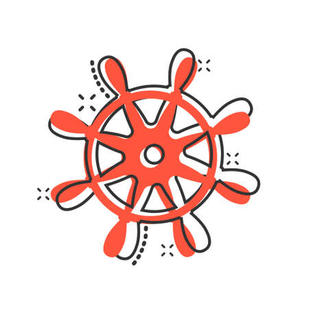 Helm wheel icon in comic style. Navigate steer cartoon vector illustration on white isolated background. Ship drive splash effect business concept. Vektorgrafik