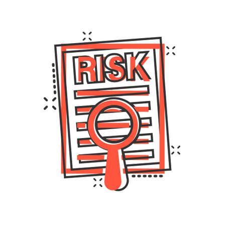 Risk level icon in comic style. Result cartoon vector illustration on white isolated background. Assessment splash effect business concept.