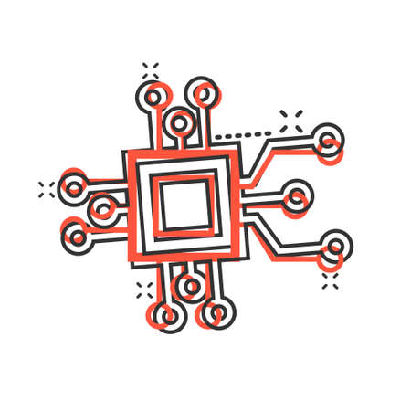 Computer chip icon in comic style. Circuit board cartoon vector illustration on white isolated background. Cpu processor splash effect business concept.