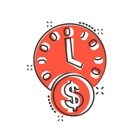 Time is money icon in comic style. Project management cartoon vector illustration on white isolated background. Deadline splash effect business concept.