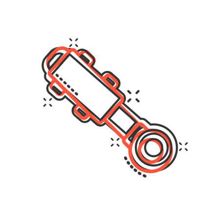 Hydraulic icon in comic style. Cylinder cartoon vector illustration on white isolated background. Equipment splash effect business concept.