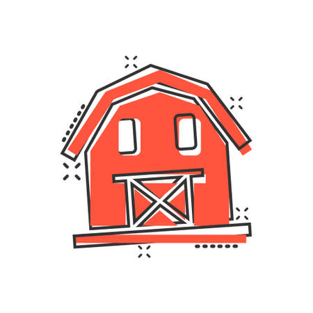Barn icon in comic style. Farm house cartoon vector illustration on white isolated background. Agriculture storehouse splash effect business concept. 向量圖像