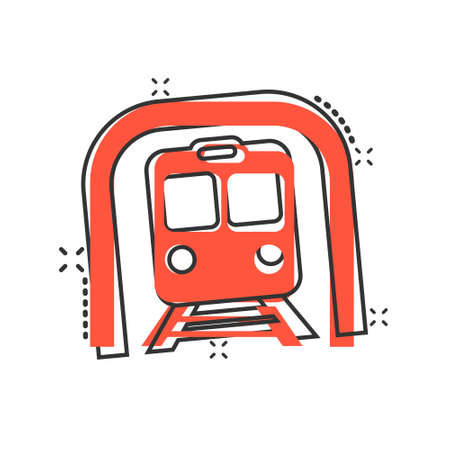 Metro icon in comic style. Train subway cartoon vector illustration on white isolated background. Railroad cargo splash effect business concept.