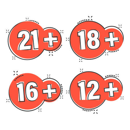 12, 16, 18, 21 plus icon in comic style. Censorship cartoon vector illustration on white isolated background. Censored splash effect business concept.