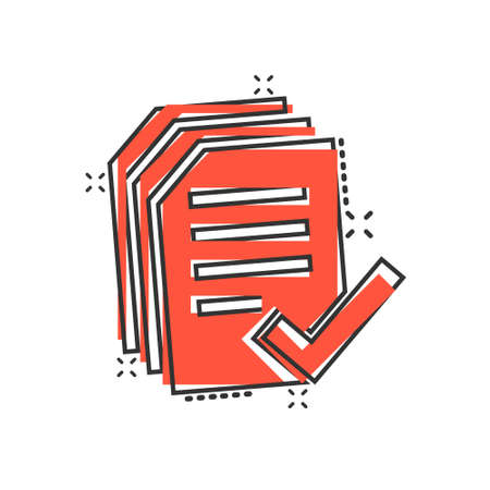 Approved document icon in comic style. Authorize cartoon vector illustration on white isolated background. Agreement check mark splash effect business concept.