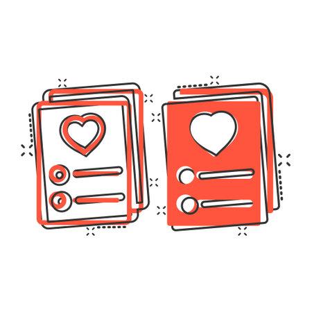Wishlist icon in comic style. Like document cartoon vector illustration on white isolated background. Favorite list splash effect business concept. Illustration
