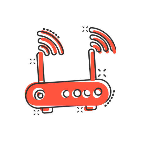 Wifi router icon in comic style. Broadband cartoon vector illustration on white isolated background. Internet connection splash effect business concept. Illustration