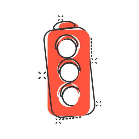 Semaphore icon in comic style. Traffic light cartoon vector illustration on white isolated background. Crossroads splash effect business concept. Illustration