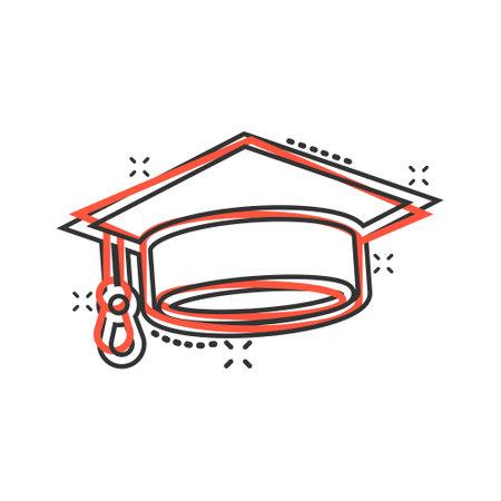 Graduation hat icon in comic style. Student cap cartoon vector illustration on white isolated background. University splash effect business concept. Illustration