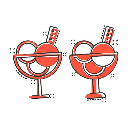 Ice cream icon in comic style. Sundae cartoon vector illustration on white isolated background. Sorbet dessert splash effect business concept.