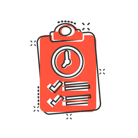 Document witch clock icon in comic style. Checklist survey cartoon vector illustration on white isolated background. Fast service splash effect business concept. Illustration