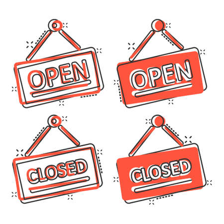 Open, closed sign icon in comic style. Accessibility cartoon vector illustration on white isolated background. Message splash effect business concept.