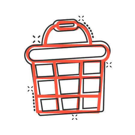 Add to cart icon in comic style. Shopping cartoon vector illustration on white isolated background. Basket splash effect business concept.