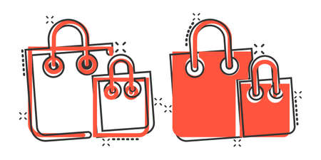 Shopping bag icon in comic style. Handbag cartoon sign vector illustration on white isolated background. Package splash effect business concept.