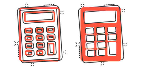 Calculator icon in comic style. Calculate cartoon vector illustration on white isolated background. Calculation splash effect business concept.