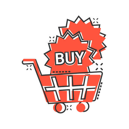 Online shopping star icon in comic style. Buy button cartoon vector illustration on white isolated background. E-commerce splash effect business concept.