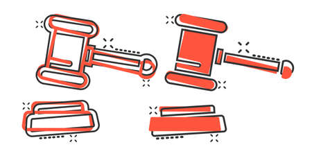 Auction hammer icon in comic style. Court sign cartoon vector illustration on white isolated background. Tribunal splash effect business concept. Illusztráció